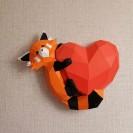Паперкрафт-модель Панда на сердце